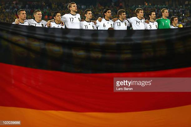 The German team line up ahead of the 2010 FIFA World Cup South Africa Group D match between Germany and Australia at Durban Stadium on June 13 2010...