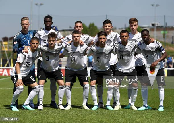 The German team line up before the match between Serbia and Germany in the UEFA European Under17 Championship Group Stage at Loughborough University...