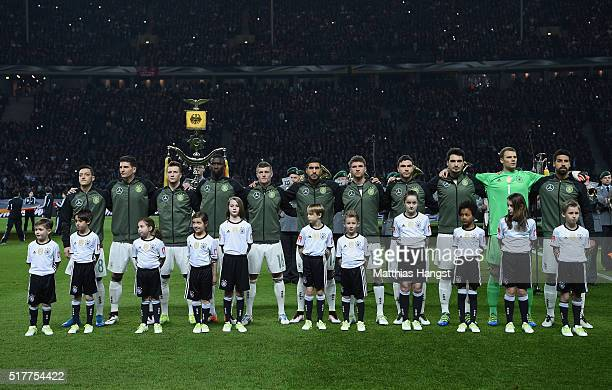 The German team line up prior to the International Friendly match between Germany and England at Olympiastadion on March 26 2016 in Berlin Germany