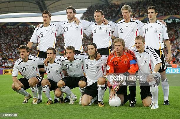 The German team lines up before the FIFA World Cup Germany 2006 Third Place Playoff match between Germany and Portugal played at the GottliebDaimler...
