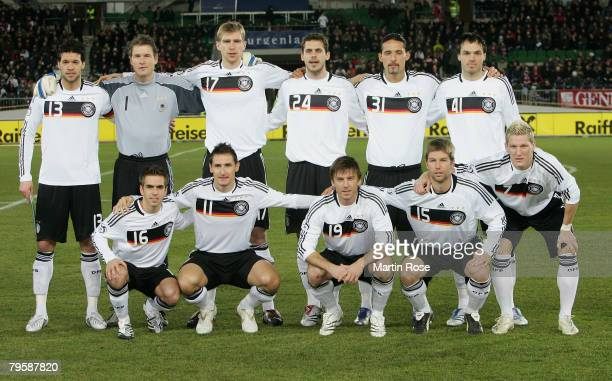 The german team lines up for a team photo prior the friendly match between Austria and Germany at the Ernst Happel stadium on February 6, 2008 in...