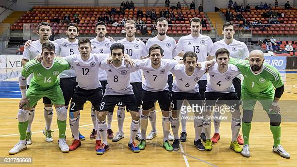 The german team lines up prior to the UEFA Futsal European Championship Qualifying match between Armenia and Germany at Zemgales Olimpiskais centrs...