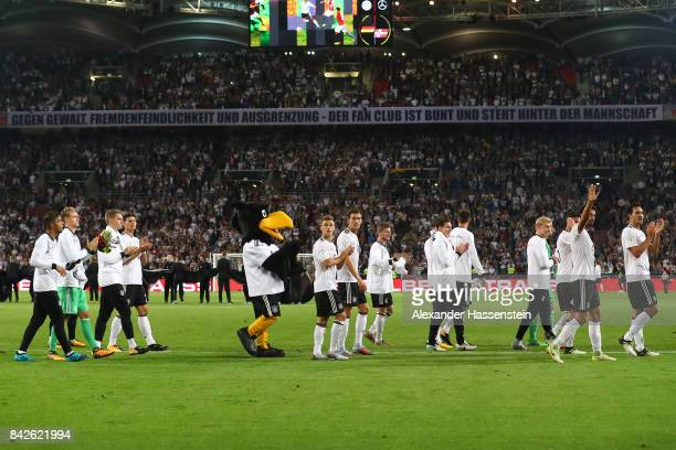 The German team on their lap of honor after the FIFA 2018 World Cup Qualifier between Germany and Norway at MercedesBenz Arena on September 4 2017 in...