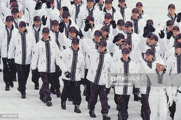 The German team parading at the opening ceremony of the Winter Olympics at the Nagano Olympic Stadium Nagano Japan 7th February 1998