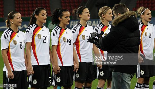 The German team performs for the TV series Tatort during the training session at BayArena on November 24 2010 in Leverkusen Germany