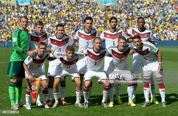 The German team pose for a team group prior to the 2014 FIFA World Cup Brazil Quarter Final match between France and Germany at Maracana on July 4...