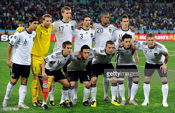 The German team pose for a team group prior to the start of the 2010 FIFA World Cup South Africa Semi Final match between Germany and Spain at Durban...