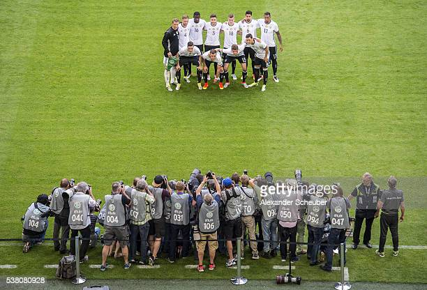 The german team pose in front of the photographers prior the International Friendly match between Germany and Hungary at VeltinsArena on June 4 2016...