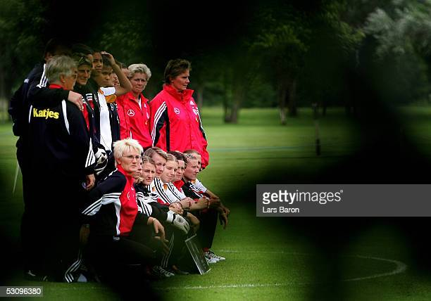 The German team poses before the training session of the German National Team at the UEFA Women Championships on June 17 2005 in Preston England