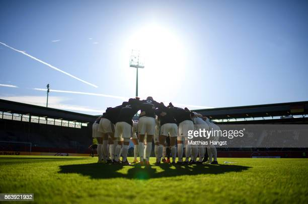 The German team seen prior to the 2019 FIFA Women's World Championship Qualifier match between Germany and Iceland at BRITAArena on October 20 2017...