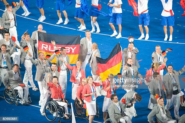 The German team wave to the crowd during the Opening Ceremony for the 2008 Paralympic Games at the National Stadium on September 6 2008 in Beijing...