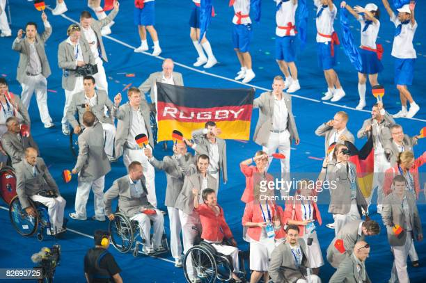 The German team waves to the crowd during the Opening Ceremony for the 2008 Paralympic Games at the National Stadium on September 6 2008 in Beijing...