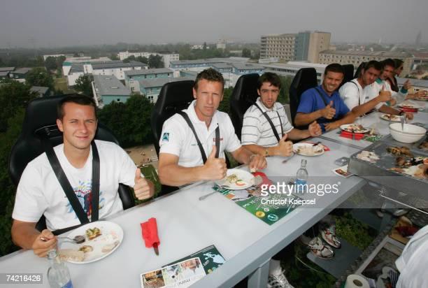 The German team with Philipp Kohlschreiber team captain Patrick Kuhnen Benjamin Becker Alexander Waske Michael Kohlmann and Florian Mayer have lunch...