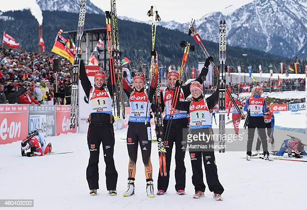 The German team with Vanessa Hinz of Germany, Franziska Preuss of Germany, Luise Kummer of Germany and Frannziska Hildebrand of Germany celebrate...
