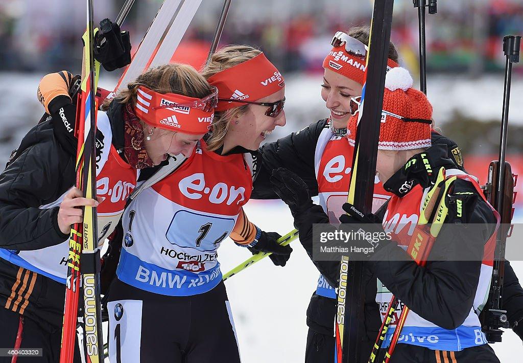 The German team with (L - R) Vanessa Hinz of Germany, Franziska Preuss of Germany, Luise Kummer of Germany and Frannziska Hildebrand of Germany celebrate after winning the women 4 x 6 km relay event in the IBU Biathlon World Cup on December 13, 2014 in Hochfilzen, Austria.