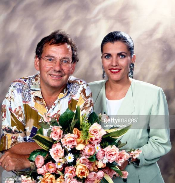 The German television presenter Birgit Schrowange on the ZDF programme 'Wiedersehen macht Freude' where treasures from the ZDF archives are shown...