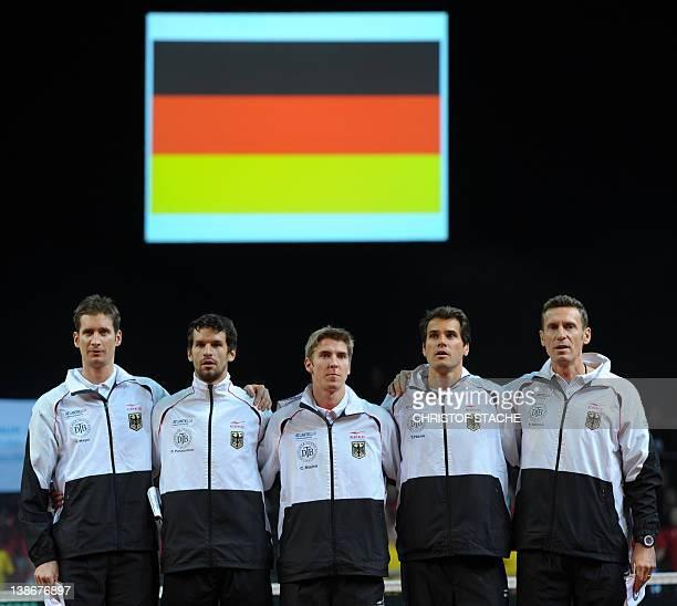 The German tennis Davis Cup team Florian Mayer Philipp Petzschner CedrikMarcel Stebe Tommy Haas and team captain Patrik Kuehnen ahead the tennis...