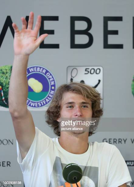 The German tennis player Alexander Zverev speaks during a press conferece at the ATP Tennis match in Halle Germany 19 June 2017 Photo Friso...
