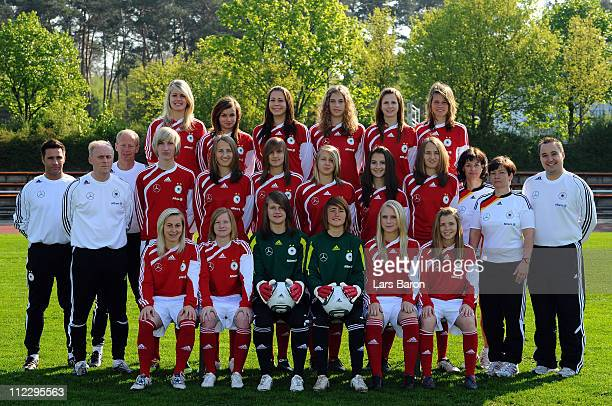 The German Under 17 Women's National Team pose during the team presentation of the German Under 17 Women's National Team at Sportzentrum Martinsee on...