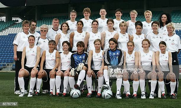 The German Womens national football team lineup during a Katjes Werbespot advertising shoot, filmed during a break in the Algarve Cup 2005 on March...