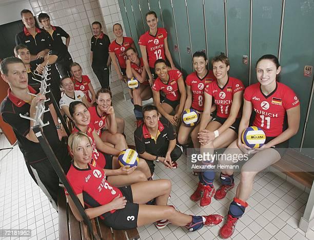 The German Womens National Volleyball Team Physiotherapist Patrick Rissler team manager Jan Lindenmair assistant coach Helmut von soosten scot...