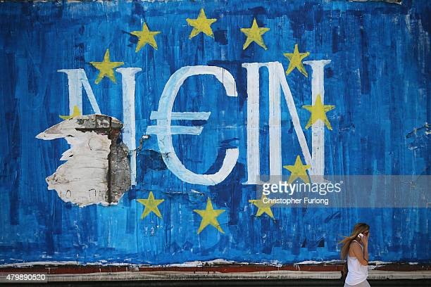 The German word 'Nein' which means 'No' sits on graffiti art displaying the European Union flag and a euro symbol on July 8 2015 in Athens Greece...
