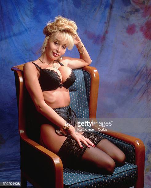 The German xrated movie star Dolly Buster poses in her underwear in Munich Germany