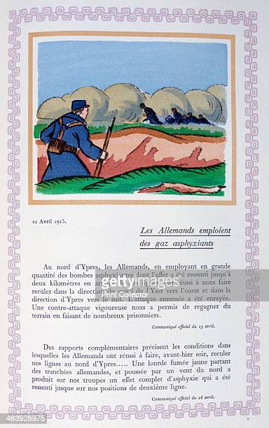 The Germans use chlorine gas Ypres 22nd April 1915 A book of the principal events of the war period A print from Le livre des heures héroïques et...