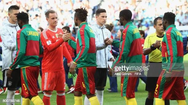 The Germany and Cameroon players shake hands prior to the FIFA Confederations Cup Russia 2017 Group B match between Germany and Cameroon at Fisht...