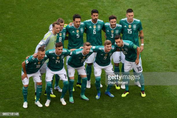 The Germany player pose for a team photo prior to the 2018 FIFA World Cup Russia group F match between Korea Republic and Germany at Kazan Arena on...