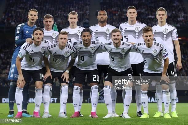 The Germany players first row Nico Schulz Marco Reus Serge Gnabry Timo Werner Joshua Kimmich second row Manuel Neuer Toni Kroos Lukas Klostermann...