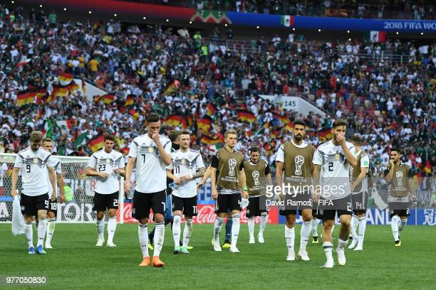 The Germany players look dejected following their sides defeat in the 2018 FIFA World Cup Russia group F match between Germany and Mexico at Luzhniki...