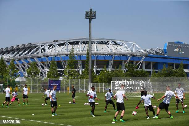 The Germany players train in the shadow of the Daejeon World Cup Stadium ahead of the FIFA U20 World Cup on May 19 2017 in Daejeon South Korea