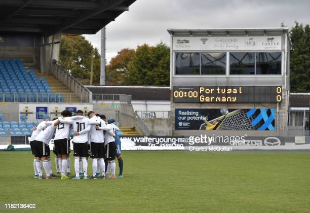 The Germany starting XI group together in a huddle before the u19 international friendly between Germany and Portugal at the Showgrounds on November...