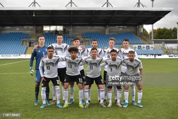 The Germany starting XI pose for a team photograph before the u19 international friendly between Germany and Portugal at the Showgrounds on November...