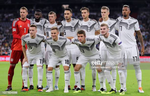 The Germany tam pose for a photograph prior to the UEFA Nations League Group A match between Germany and France at Allianz Arena on September 6 2018...