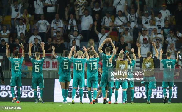The Germany team acknowledge the fans at the end of the UEFA Euro 2020 qualifier match between Belarus and Germany at BorisovArena on June 08 2019 in...