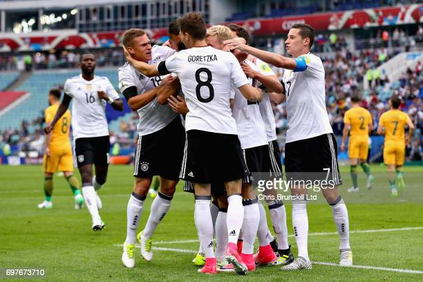 The Germany team celebrate after Lars Stindl of Germany scored the first goal for Germany during the FIFA Confederations Cup Russia 2017 Group B...