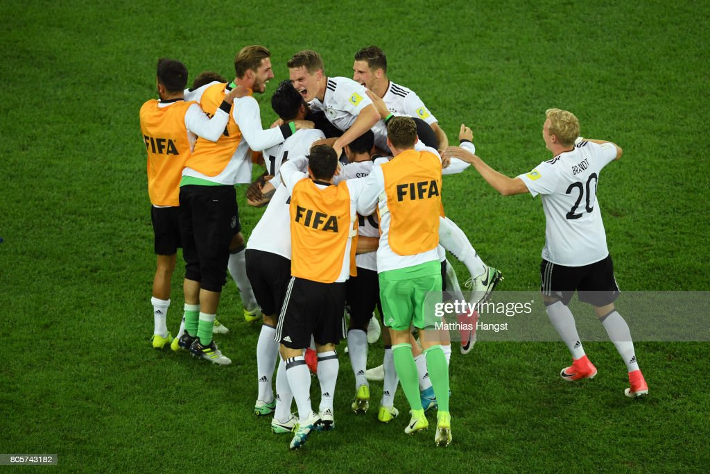 The Germany team celebrate victory after the FIFA Confederations Cup Russia 2017 Final between Chile and Germany at Saint Petersburg Stadium on July 2, 2017 in Saint Petersburg, Russia.
