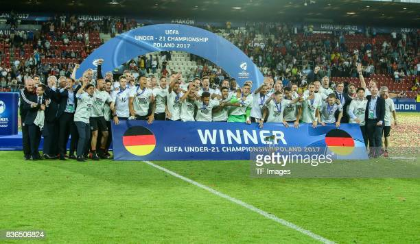 The Germany team celebrate victory after the UEFA U21 Final match between Germany and Spain at Krakow Stadium on June 30 2017 in Krakow Poland