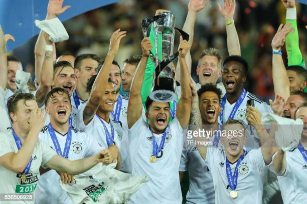 The Germany team celebrate victory after the UEFA U21 Final match between Germany and Spain at Krakow Stadium on June 30, 2017 in Krakow, Poland.