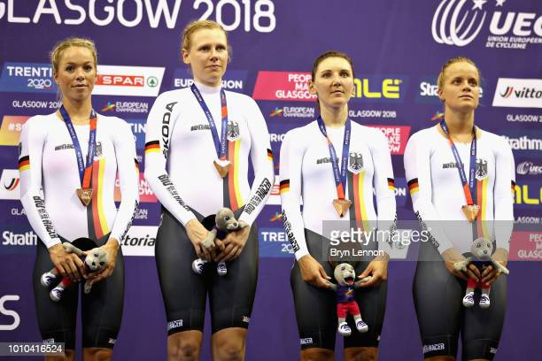 The Germany team celebrate winning the bronze medal in the Womens Team Pursuit during the track cycling on Day Two of the European Championships...