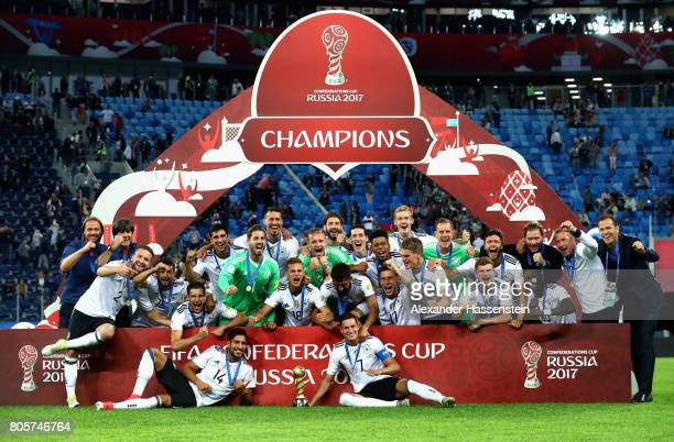 The Germany team celebrate with the FIFA Confederations Cup trophy after the FIFA Confederations Cup Russia 2017 Final between Chile and Germany at...