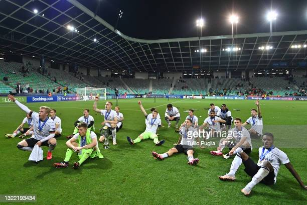 The Germany team celebrate with the UEFA European Under-21 Championship trophy after winning the 2021 UEFA European Under-21 Championship Final match...