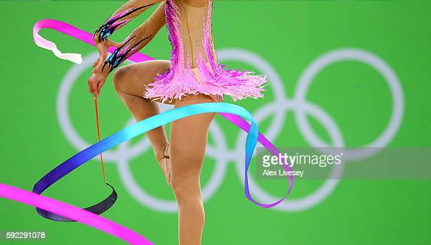 The Germany team compete in the Women's group all-around qualifying event of the Rhythmic Gymnastics at the Rio Olympic Arena during the Rio 2016...
