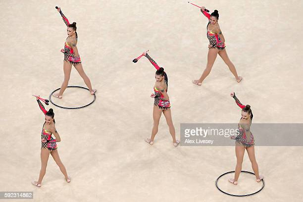 The Germany team compete in the Women's group allaround qualifying event of the Rhythmic Gymnastics at the Rio Olympic Arena during the Rio 2016...