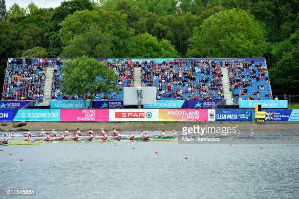 The Germany team cross the line to win gold in the final of the Men's Eight during the rowing on Day Four of the European Championships Glasgow 2018...