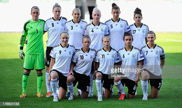The Germany team line up before the UEFA Women's U19 Tournament Group B match between Germany U19 Women v Norway U19 Women at Parc y Scarlets on...