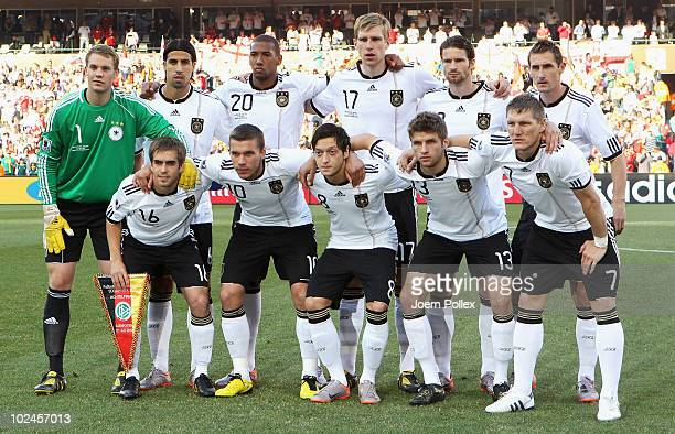 The Germany team line up for a group photo prior to the 2010 FIFA World Cup South Africa Round of Sixteen match between Germany and England at Free...