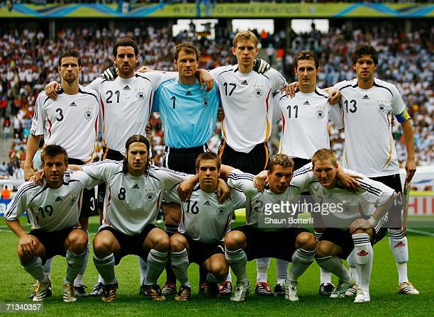 The Germany team line up for a group photo prior to the FIFA World Cup Germany 2006 Quarterfinal match between Germany and Argentina played at the...